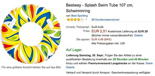 Bestway - Splash Swim Tube 107 cm, Schwimmring  - jetzt 86% billiger