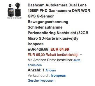 Dashcam Autokamera Dual Lens 1080P FHD Dashcamera DVR WDR GPS G-Sensor  - jetzt 50% billiger