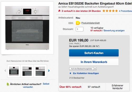 Amica EB13523E Backofen 60cm Edelstahl  - jetzt 11% billiger