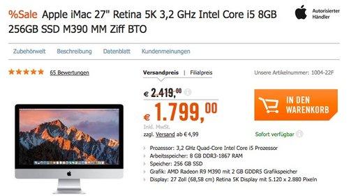 """Apple iMac 27"""" Retina 5K 3,2 GHz Intel Core i5 8GB 256GB SSD - jetzt 11% billiger"""