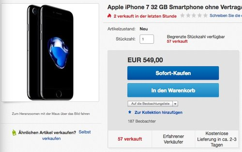 Apple iPhone 7 32 GB Smartphone schwarz - jetzt 3% billiger