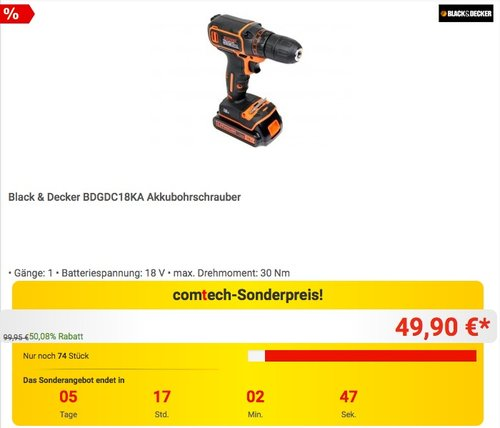 Black & Decker BDGDC18KA Akkubohrschrauber - jetzt 15% billiger