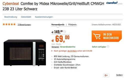 Comfee CMWGH 23B Mikrowelle / 800 W / 23L Garraum - jetzt 13% billiger