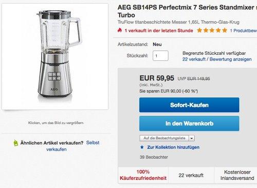 AEG PerfectMix 1,4 PS Hochleistungs-Standmixer - jetzt 14% billiger