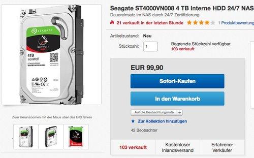Seagate ST4000VN008 4 TB Interne HDD 24/7 NAS Festplatte - jetzt 10% billiger