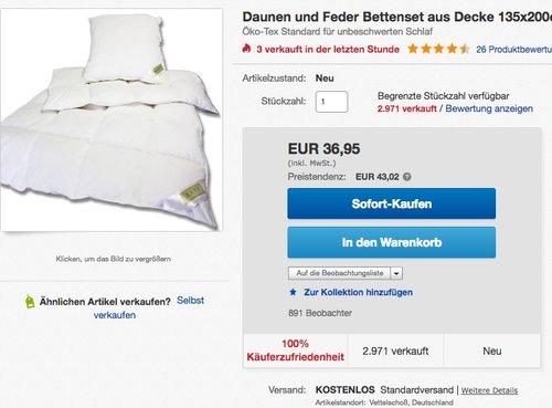 Daunen und Feder Bettenset aus Decke 135x200cm + 80x80cm Kissen - jetzt 26% billiger