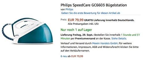 Philips SpeedCare GC6603 Bügelstation - jetzt 17% billiger