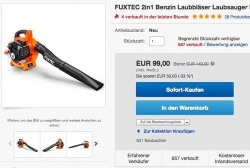 FUXTEC Benzin Laubbläser FX-LB126 inkl. 2 Blasrohre - jetzt 9% billiger