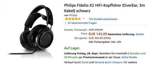 Philips Fidelio X2 HiFi-Kopfhörer (OverEar, 3m Kabel) schwarz - jetzt 27% billiger