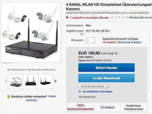 InkoVideo Komplettset WLAN Set / 4 Kanal Netzwerkrekorder mit 4 x HD Überwachungskamera - jetzt 13% billiger