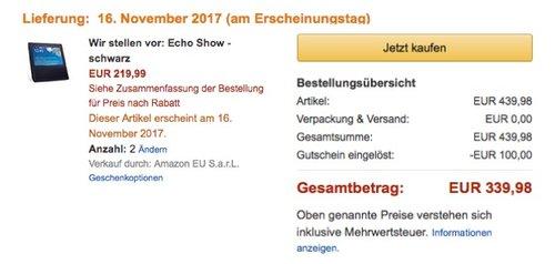 2 x Echo Show - schwarz - jetzt 23% billiger