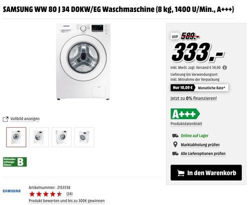 Samsung WW80J6400CW/EG Waschmaschine - jetzt 28% billiger