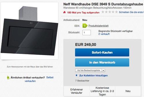 Neff DSE 3949 S Dunstabzugshaube - jetzt 14% billiger