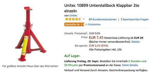 Unitec 10899 Unterstellbock Klappbar 2to einzeln  - jetzt 25% billiger