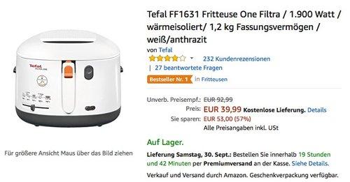 Tefal FF1631 Fritteuse One Filtra - jetzt 23% billiger