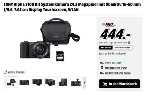 SONY Alpha 5100 Kit Systemkamera 24.3 Megapixel mit Objektiv 16-50 mm f/5.6, 7.62 cm Display Touchscreen - jetzt 11% billiger