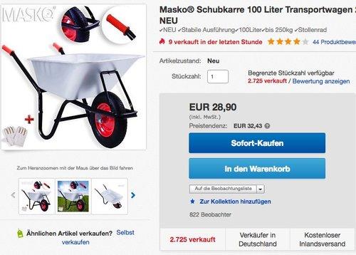 Masko Schubkarre 100 Liter 250kg - jetzt 17% billiger