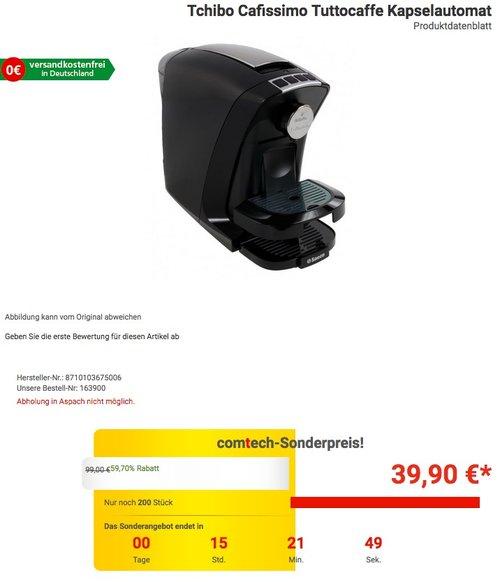 Tchibo Saeco Cafissimo Tuttocaffe Kapselmaschine (für Kaffee, Espresso, Caffe Crema) - jetzt 26% billiger