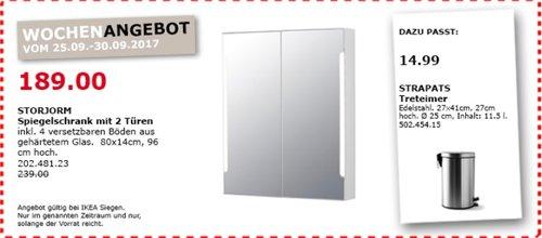 IKEA STORJORM Spiegelschrank mit 2 Türen, 80x14 cm, 96 cm hoch - jetzt 21% billiger