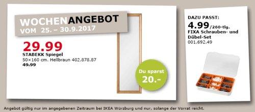 IKEA STABEKK Spiegel, 50x160 cm, hellbraun  - jetzt 40% billiger