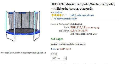 HUDORA Fitness Trampolin/Gartentrampolin, mit Sicherheitsnetz, blau/grün  - jetzt 39% billiger