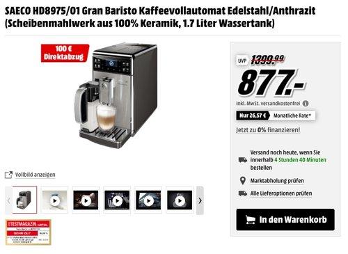 Saeco HD8975/01 GranBaristo Kaffeevollautomat, AquaClean, integrierte Milchkaraffe - jetzt 11% billiger