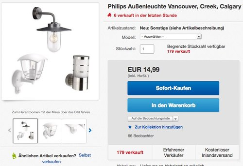 Massive by Philips Außenleuchte Vancouver, Creek, Calgary - jetzt 32% billiger
