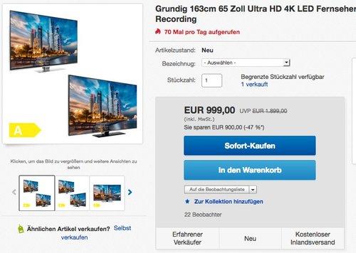 Grundig 65 GUS 9790 163cm (65 Zoll) Ultra HD 4K LED Fernseher - jetzt 23% billiger