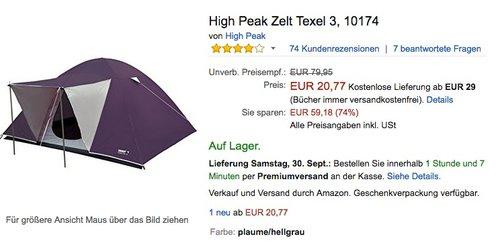 High Peak Zelt Texel 3 - jetzt 44% billiger