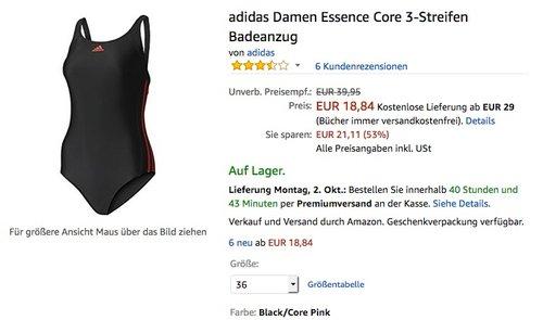 adidas Damen Essence Core 3-Streifen Badeanzug - jetzt 37% billiger
