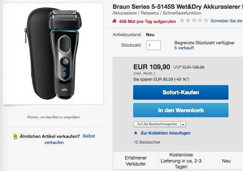 Braun Rasierer 5145s wet&dry - jetzt 21% billiger