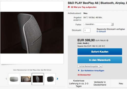 B&O PLAY by Bang & Olufsen Beoplay A6 Stereosystem - jetzt 25% billiger