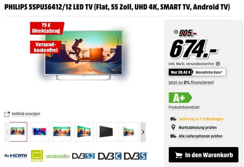 PHILIPS 55PUS6412/12 LED TV (Flat, 55 Zoll, UHD 4K, SMART TV, Android TV) - jetzt 24% billiger