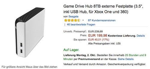 "Game Drive Hub 3.5"" 8TB externe Festplatte (inkl USB Hub, für Xbox One und 360)  - jetzt 20% billiger"