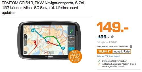 TOMTOM GO 610, PKW Navigationsgerät, 6 Zoll, 152 Länder, Micro-SD Slot, inkl. Lifetime card updates - jetzt 21% billiger