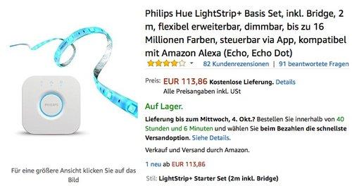 PHILIPS Hue LightStrip+ 2m Basis inkl. Hue Bridge Vorteilspack - jetzt 4% billiger