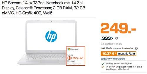 HP Stream 14-ax032ng, Notebook mit 14 Zoll Display, Celeron® Prozessor, 2 GB RAM, 32 GB eMMC, HD-Grafik 400, - jetzt 24% billiger