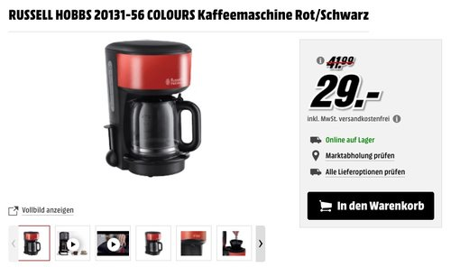 Russell Hobbs 20131-56 Colours Plus+ Flame Red Glas-Kaffeemaschine - jetzt 27% billiger