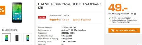 Lenovo C2 Smartphone (12,7 cm (5 Zoll), 8 GB, Android) Schwarz - jetzt 41% billiger