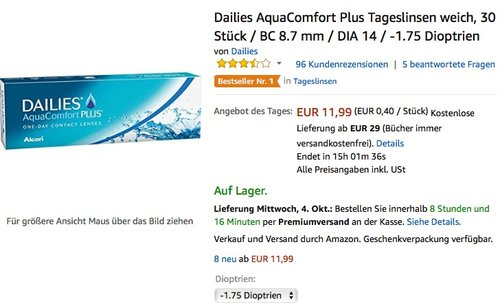 Dailies AquaComfort Plus Tageslinsen weich, 30 Stück / BC 8.7 mm / DIA 14 - jetzt 20% billiger