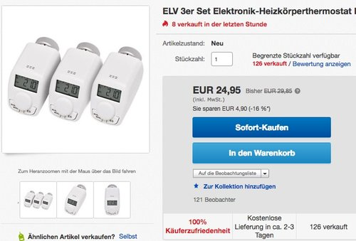 ELV 3er Set Elektronik-Heizkörper-Thermostate Model P - jetzt 36% billiger