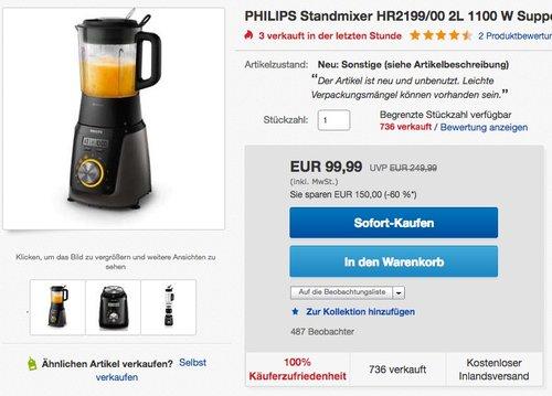 Philips HR2199/00 Hochleistungsmixer mit 32.000 U/min - jetzt 47% billiger