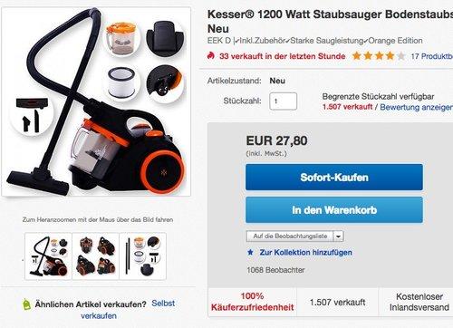 Kesser Zyklonstaubsauger Staubsauger Bodenstaubsauger Beutellos mit Hepa Filter  - jetzt 30% billiger