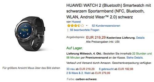 HUAWEI WATCH 2 (Bluetooth) Smartwatch mit schwarzem Sportarmband - jetzt 13% billiger