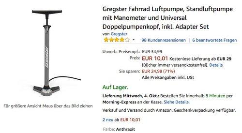 Gregster Fahrrad Luftpumpe, Standluftpumpe mit Manometer und Universal Doppelpumpenkopf - jetzt 54% billiger