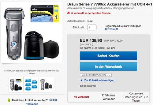 Braun Series 7 Elektrischer Rasierer 799CC mit Reinigungsstation - jetzt 13% billiger