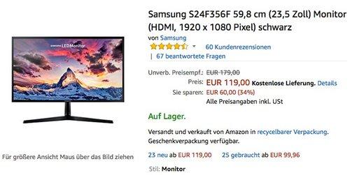 Samsung S24F356F 59,8 cm (23,5 Zoll) Monitor (HDMI, 1920 x 1080 Pixel) schwarz - jetzt 17% billiger