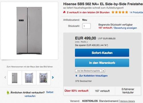 Hisense SBSN EL Kühl-Gefrier-Kombinationen Side-by-Side - jetzt 9% billiger