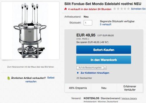 Silit Mondo Fondue-Set Edelstahl rostfrei 18 / 10 - jetzt 41% billiger
