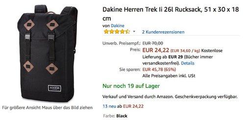 Dakine Herren Trek II 26l Rucksack, 51 x 30 x 18 cm - jetzt 46% billiger